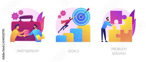 Fototapeta Successful business icons set. Effective teamwork, career promotion, solution development. Partnership, goals, problem solving metaphors. Vector isolated concept metaphor illustrations obraz