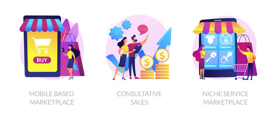 Retail business cartoon icons set. Online shop smartphone app. Mobile based marketplace, consultative sales, niche service marketplace metaphors. Vector isolated concept metaphor illustrations