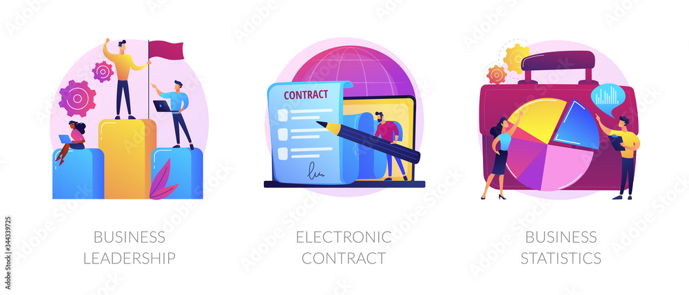 Fototapeta Business icons set. Market success, digital paperwork, corporate research. Business leadership, electronic contract, business statistics metaphors. Vector isolated concept metaphor illustrations