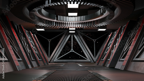 sci fi corridor with view of space galaxy 3d rendering