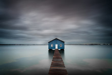 Blue Boat Shed On The River Wi...
