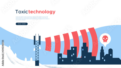 Fotografia Toxic 5g tower wave technology web page template