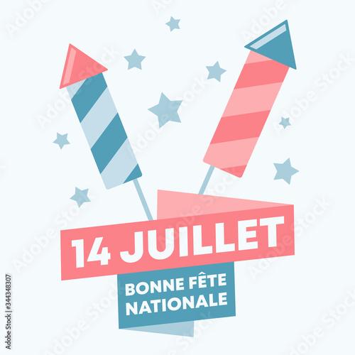 14 juillet format carré - fete nationale francaise - vecteur illustration Canvas Print
