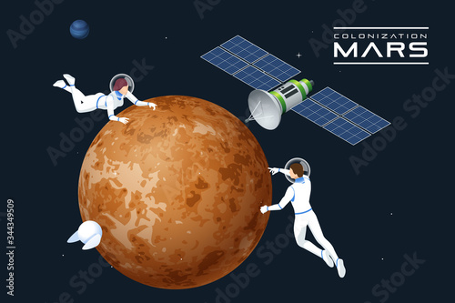 Isometric astronauts in orbit of Mars and satellite Wallpaper Mural