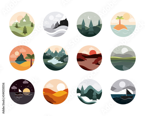landscape nature mountains ocean and forest in circle icons set flat style icon