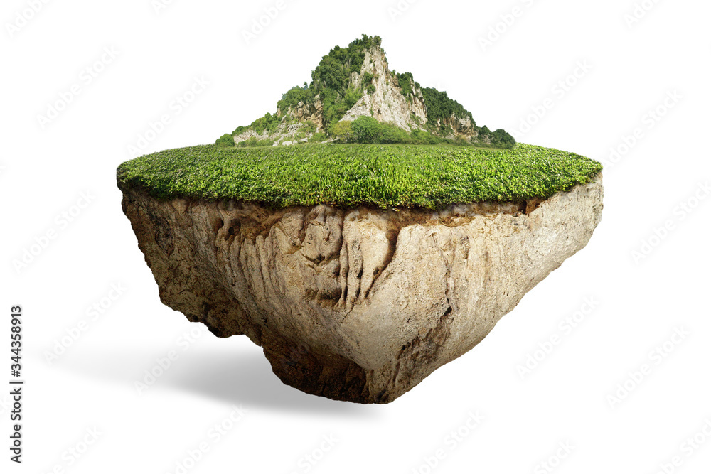 Fototapeta fantasy floating island with natural grass field on the rock, surreal float landscape with paradise concept