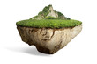 Leinwandbild Motiv fantasy floating island with natural grass field on the rock, surreal float landscape with paradise concept