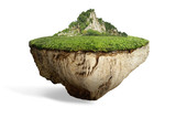 fantasy floating island with natural grass field on the rock, surreal float landscape with paradise concept