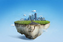 Amazing Floating Island With Cityscape And Rural Road, 3D Float Rock And Grass With Modern City