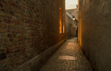 Panoramic View Of Cobbled Stre...