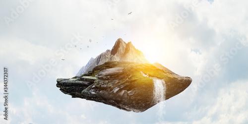 Fototapeta Summer mountain hills landscape . Mixed media obraz