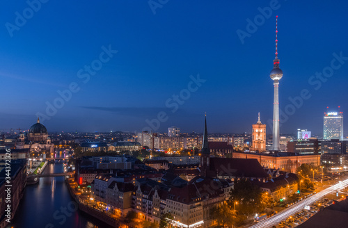 Berlin's TV Tower (Fernsehturm) and Spree River at Dusk Canvas Print