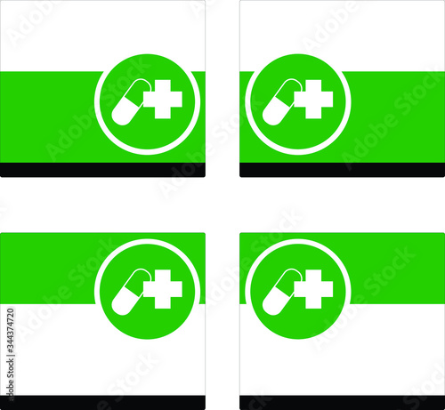 icon capsule and health on green white and black frame, drug in right or left position, Must to do in the drugstore Canvas Print