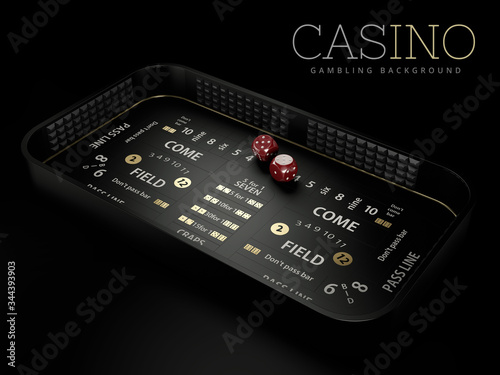 фотография 3d Rendering of craps table layout, clipping path included