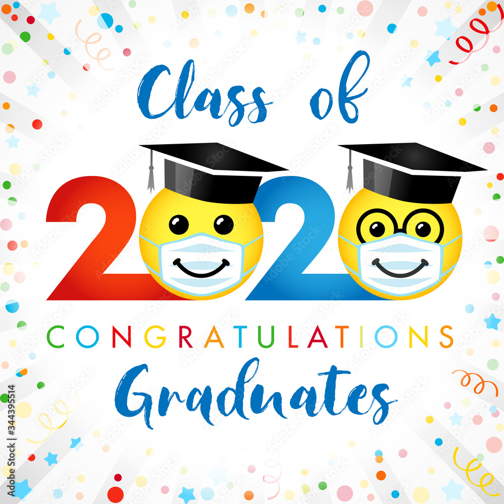 Fototapeta Class of 2020 year graduating banner, awards concept. Creative funny sign, happy holiday cute colorful invitation poster. Isolated abstract graphic design template. Red, blue colors, white background.
