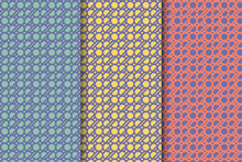 Bold Abstract Circle Flow Pattern Use Purple Pastel Color In Three Variation Background Are Blue, Yellow And Red.