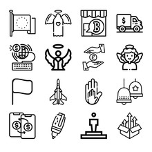 Set Of 16 States Lineal Icons