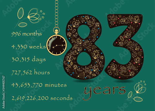 Papel de parede Time counting card. Number 83 and Pocket Watch
