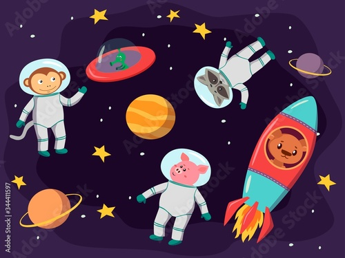 Collection of space background set with astronaut, planet, moon, star, rocket Canvas Print