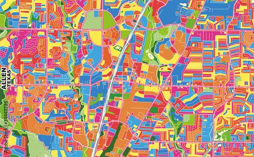 Allen, Texas, USA, colorful vector map Wallpaper Mural