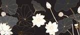 Golden lotus line arts on dark background, Luxury gold wallpaper design for prints, banner, fabric, poster, cover, digital arts vector illustration. - 344425742