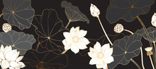 Golden Lotus Line Arts On Dark...