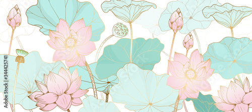 Golden lotus line arts on white background, Luxury gold wallpaper design for prints, banner, fabric, poster, cover, digital arts vector illustration.