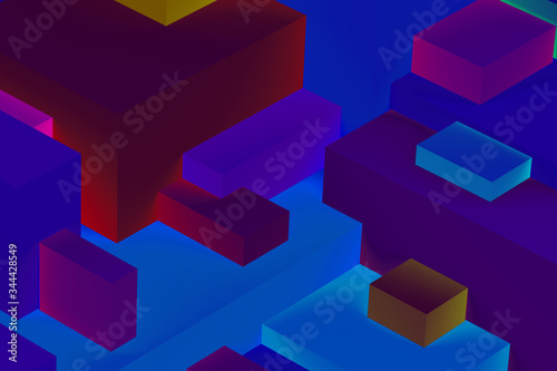 Obraz Abstract geometric cubic colorful  in neon lights background. isometric 3d render. - fototapety do salonu