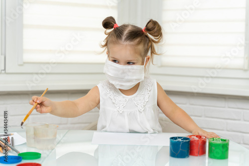 little girl painting colorful drawing Wallpaper Mural
