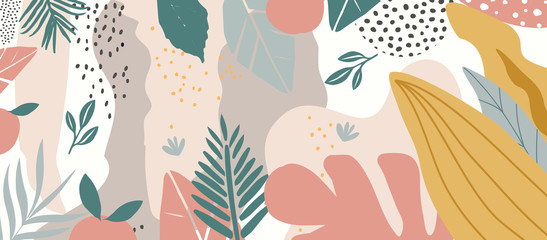 Colorful flowers and leaves poster background vector illustration. Exotic plants, branches, flowers and leaves art print for beauty, fashion and natural products, spa and wellness, wedding and event