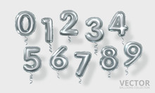 Silver Number Balloons 0 To 9. Realistic 3d Render Air Balloon. Helium Balloons. Party, Birthday, Celebrate Anniversary And Wedding. Realistic Design Elements. Festive Set Isolated. Vector Illustratio