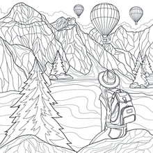 Beautiful Landscape. A Girl Sits On A Stone And Looks At The Mountains, The Lake And Balloons.Coloring Book Antistress For Children And Adults.
