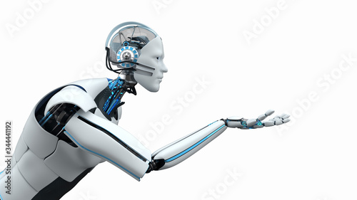 Humanoid robot assistant at your service. 3d illustration. Wallpaper Mural