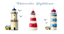 Hand Drawn Watercolor Lighthou...