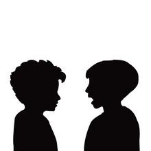 Boys Talking Heads Silhouette ...