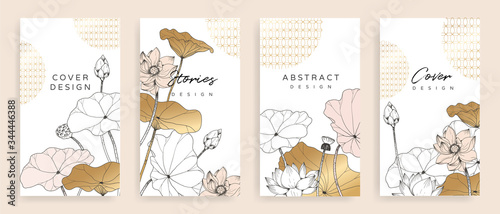 Luxury cover design template. Lotus line arts hand draw gold lotus flower and leaves. Design for packaging design, social media post, cover, banner, creative post, Gold geometric pattern design vector © vectortwins