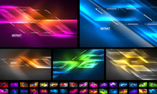Set Of Dynamic Neon Shiny Abst...