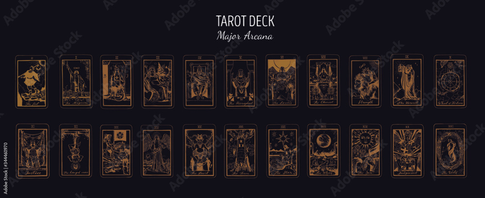 Fototapeta Big Tarot card deck.  Major arcana set part  . Vector hand drawn engraved style. Occult and alchemy symbolism. The fool, magician, high priestess, empress, emperor, lovers, hierophant, chariot
