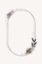 Glittery Floral Oval Frame Vec...