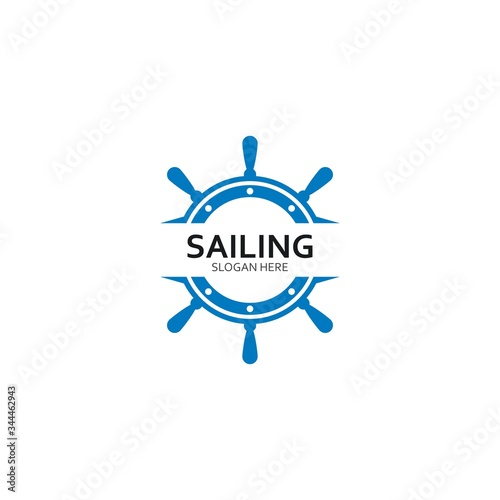 Photo ship steering for sailing logo vector icon illustration template