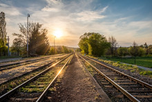 Spring Sunset On Railway Tracks