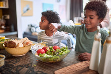 Afro-american Kids Eating Healthy Food Together. Brother And Sister. Togetherness Concept