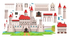 Medieval Castle Diy Constructor For Kids Vector Illustration. Ancient Building With Various Details Flat Style. Architecture And History Concept. Isolated On White Background