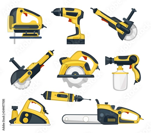Obraz Set of yellow power tools for professional craftsman vector illustration. Instruments for handyman flat style. Renovation or construction site concept. Isolated on white background - fototapety do salonu