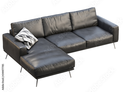 Slika na platnu Modern black leather chaise lounge sofa with pillow. 3d render.