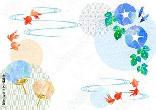 Slika na platnu Japanese stlye frame with goldfish, fan and morning glory