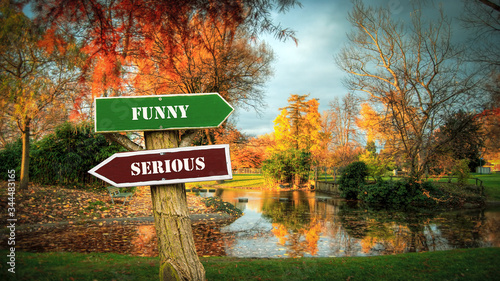 Street Sign Funny versus Serious Canvas Print