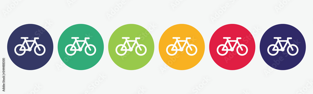Fototapeta 6 button circles set with bike icon in various colors. Vector illustration.
