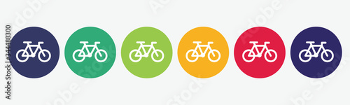 Foto 6 button circles set with bike icon in various colors