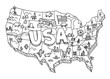 Illustrated USA map sketch. Tourist attraction. United States of America country. Freehand Illustration. Line hand-drawn vector.